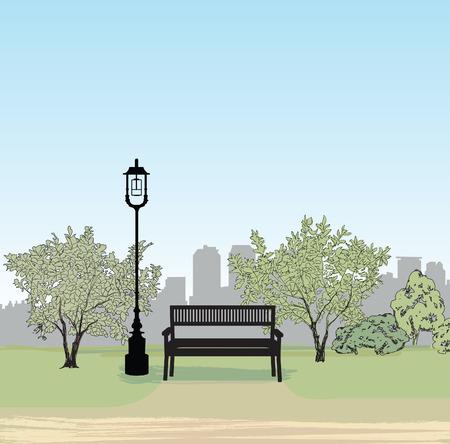 Panchina nel parco cittadino. Alberi e piante. Paesaggio con il banco. illustrazione vettoriale Cityscape Vettoriali