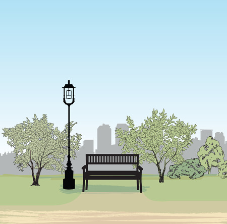 Bench in city park. Trees and plants. Landscape with bench. Cityscape vector illustration