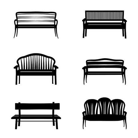 modern garden: Bench set. Garden benches in modern and retro style
