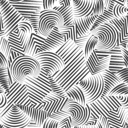 abstract black: Abstract seamless pattern.  Line ornamental doodle geometric background Black and white stripped texture Illustration