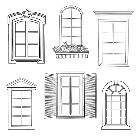 classic house: Window set. Different architectural style of windows doodle sketch stylish collection Illustration