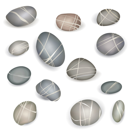 zenlike: Set of pebbles and natural stones of different shapes and colors. With examples of use Illustration