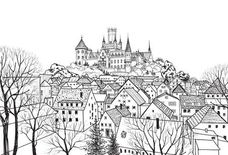 Oude stad met kasteel op de achtergrond. Middeleeuwse Europese kasteel landschap. Potlood getrokken vector schets