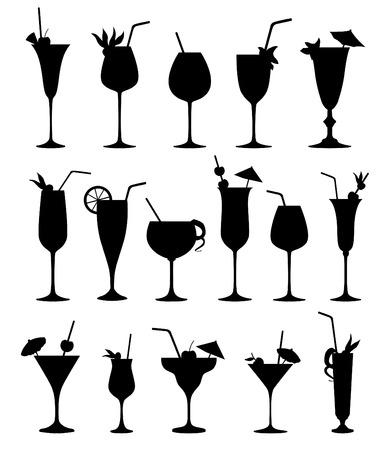 Cocktail silhouettes vector Cocktail drink glass set. Vektorové ilustrace