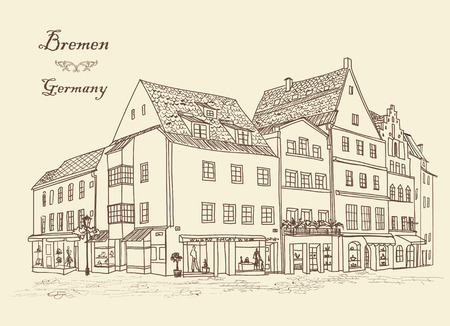 bremen: Street with old buildings and cafe in old city. Cityscape - houses, buildings and tree on alleyway. Old city view. Medieval european castle landscape. Urban landscape illustration. Pencil drawn vector sketch