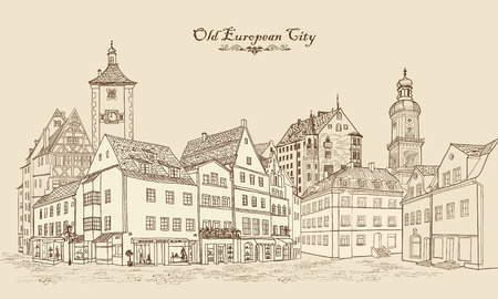 landscape architecture: Street with old buildings and cafe in old city. Cityscape - houses, buildings and tree on alleyway. Old city view. Medieval european castle landscape. Urban landscape illustration. Pencil drawn vector sketch