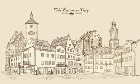 Via con i vecchi edifici e caffè nella città vecchia. Paesaggio urbano - case, edifici e albero sul vicolo. Vista sulla città vecchia. Medieval paesaggio castello europeo. Paesaggio urbano illustrazione. Matita disegnato disegno vettoriale Vettoriali