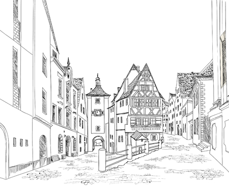 old city: Street with old buildings and cafe in old city. Cityscape - houses, buildings and tree on alleyway. Old city view. Medieval european castle landscape. Urban landscape illustration. Pencil drawn vector sketch