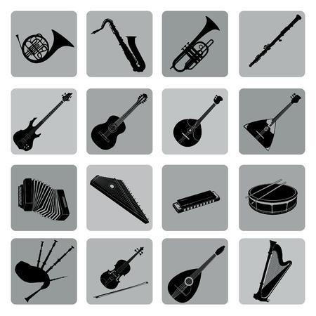 fagot: Musical instruments icon set. Folk, classical, jazz, ethnic, rock music symbols Ilustracja
