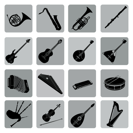 Muziekinstrumenten icon set. Folk, klassiek, jazz, etnisch, rock muziek symbolen Stock Illustratie