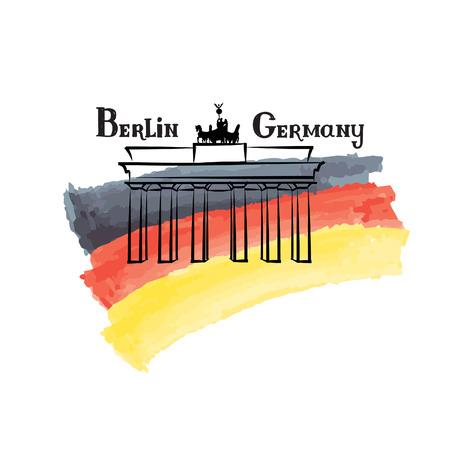 german flag: Travel Germany label Berlin famous building Brandenburg gates German flag with Berlin landmark Grunge painted Germany flag with handwritten typing background