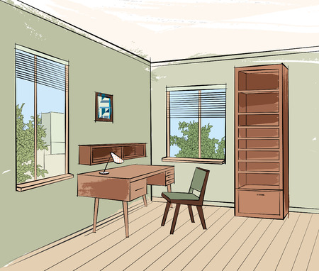 home decorating: Home interior work palce furniture with chair, armchair, table, shelf, window. Office room design. Engraved hand drawing workpalce colored vector illustration