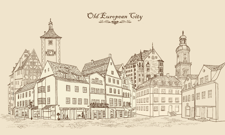 old buildings: Street with old buildings and cafe in old city. Cityscape - houses, buildings and tree on alleyway. Old city view. Medieval european castle landscape. Urban landscape illustration. Pencil drawn vector sketch