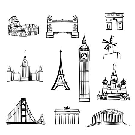 Welt Touristenattraktionen Symbole weltberühmte Wahrzeichen der Stadt Reise-Icon-Set Doodle graviert Sehenswürdigkeiten von London, Rom, Berlin, Athen, Moskau, San Francisco, Paris. Vektorgrafik