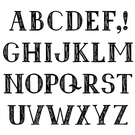 latin alphabet: Latin alphabet. Grunge line decorative font. Hipsters sketched letter characters