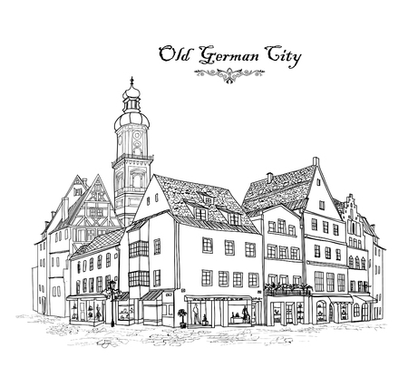 city street: Street with old buildings and cafe in old city. Cityscape - houses, buildings and tree on alleyway. Old city view. Medieval european castle landscape. Urban landscape illustration. Pencil drawn vector sketch
