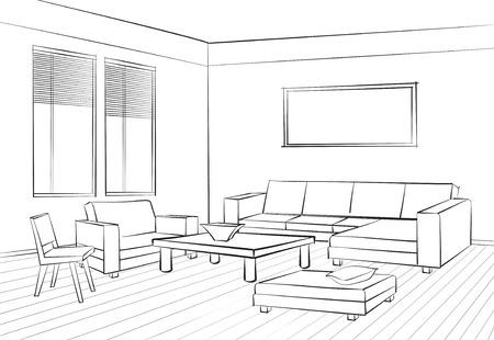 Inicio mobiliario interior con sofá, sillón, mesa. sala de diseño de dibujo. Graba ilustración vectorial dibujo a mano