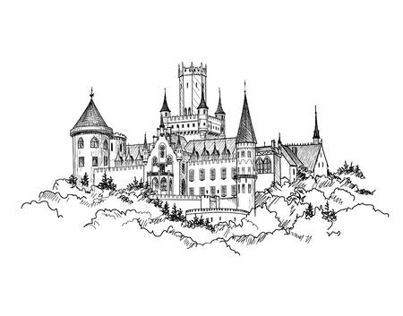 Château Célèbre Marienburg, Saxe, Allemagne. bâtiment château paysage. Hand drawn esquisse illustration vectorielle.