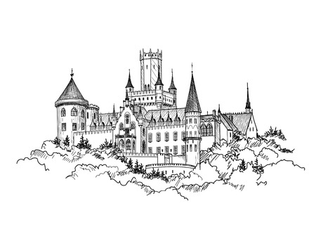 castle tower: Famous Castle Marienburg, Saxony, Germany. Castle building landscape. Hand drawn sketch vector illustration.
