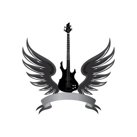 muzikale illustratie met silhouetten van gitaar, vleugels. Rock-symbool. Elektrische gitaar met vleugels en boog lint voor tekst. Muical instrument achtergrond