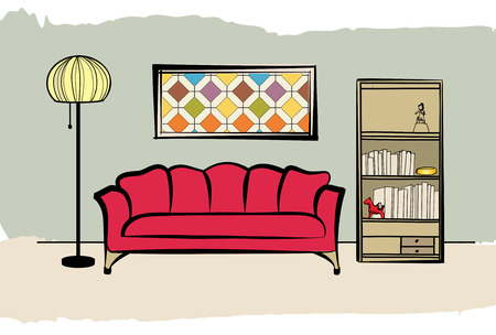 luxury homes: Interior furniture with sofa, floor lamp, book shelf, books and picture on the wall. Living room hnd drawing design.