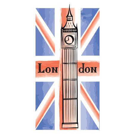 bus anglais: drapeau grunge UK avec Londres célèbre tour de l'abbaye de Westminster. Voyage en Grande-Bretagne fond avec peint le drapeau du Royaume-Uni. Anglais monument Big Ben