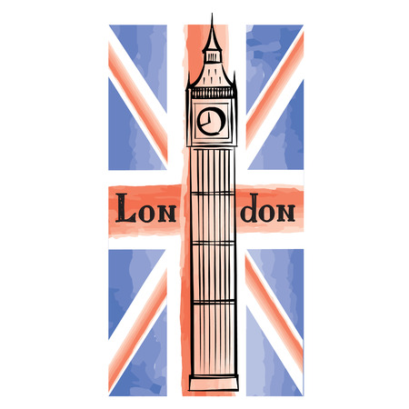 english famous: Grunge UK flag with London famous Westminster abbey tower. Travel Great Britain  background with painted UK flag. English landmark Big Ben