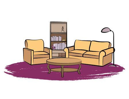 Inicio entre los muebles con sofá, sillón, mesa, lámpara de pie, estante de libros, los libros y el cuadro en la pared. Sala de estar y el diseño de dibujo.