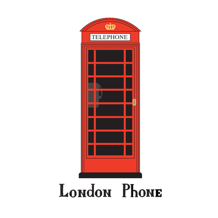 red telephone box: London city phone Famous London red telephone box. English landmark The Great Britain sightseeing design element. Travel England icon