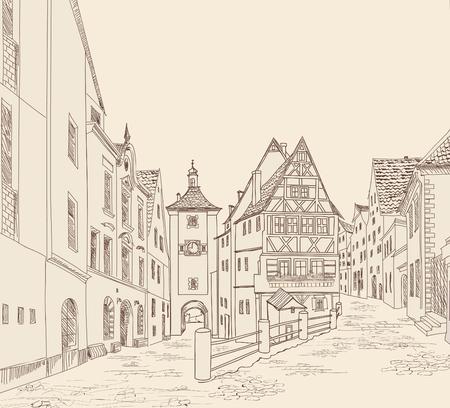 Straat met oude gebouwen en cafe in de oude stad. Cityscape - huizen, gebouwen en de boom op steegje. Oude stad. Middeleeuwse Europese kasteel landschap. Stedelijk landschap illustratie. Potlood getrokken vector schets
