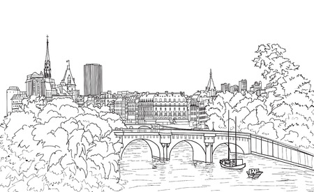 Riverside street view in the old city. Paris cityscape view with river and bridge Illustration