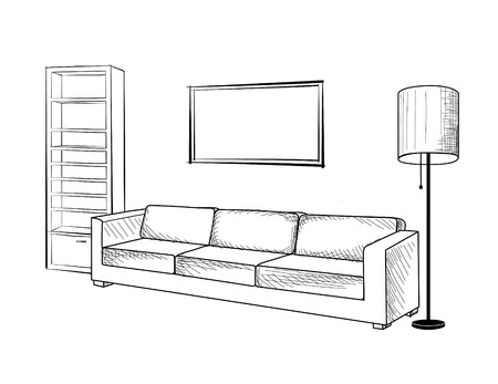 lounge room: Interior furniture with sofa, floor lamp, book shelf, books and picture on the wall. Living room hnd drawing design.
