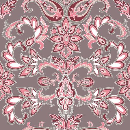 Abstract oosterse bloemen naadloos patroon. Flower geometrische sierachtergrond. Floreren barokke betegelde ornament met bloemen.