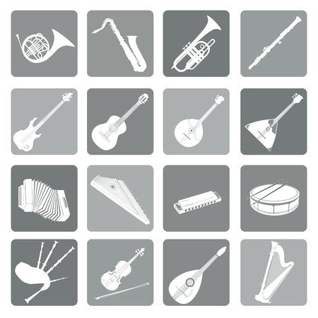oboe: Musical instruments icon set. Folk, classical, jazz, ethnic, rock music symbols Illustration