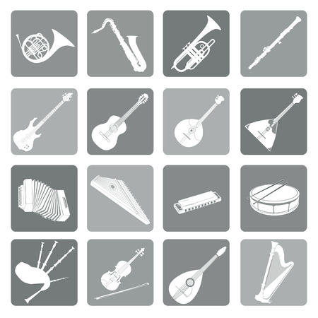 fagot: Musical instruments icon set. Folk, classical, jazz, ethnic, rock music symbols Ilustracja