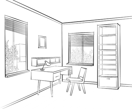 architectural styles: Home interior work palce furniture with chair, armchair, table, shelf, window. Office room design. Engraved hand drawing workpalce colored vector illustration