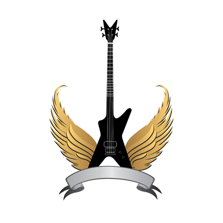 music symbol: musical illustration with silhouettes of guitar, wings. Rock music symbol. Electric guitar with wings and bow ribbon for text. Muical instrument background Illustration