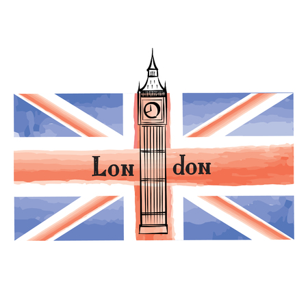 westminster abbey: Grunge UK flag with London famous Westminster abbey tower. Travel Great Britain  background with painted UK flag. English landmark Big Ben