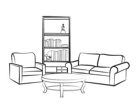 Interieur meubels met bank, fauteuil, tafel, boekenkast en booksl. Woonkamer tekenen design. Graveert hand tekenen vector illustratie