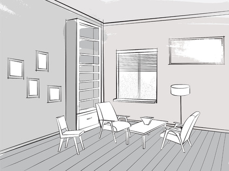 reading room: Living room lounge interior sketch Place for reading with armchair Illustration