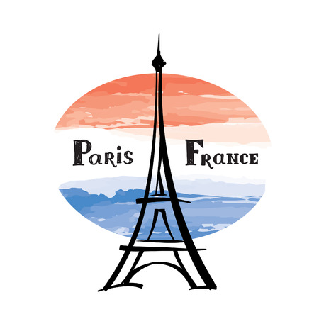 worl: Travel France label Paris famous building Eiffel tower French flag with Paris landmark Grunge painted France flag with handwritten typing background