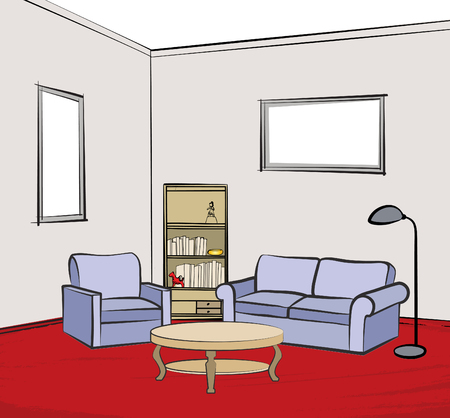 armchair: Home interior furniture with sofa, armchair,table, floor lamp, book shelf, books and picture on the wall. Living room and drawing design. Illustration