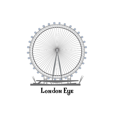 sightseeings: Travel London city famous place. English  landmark London Eye sightseeing The Great Britain background design element.