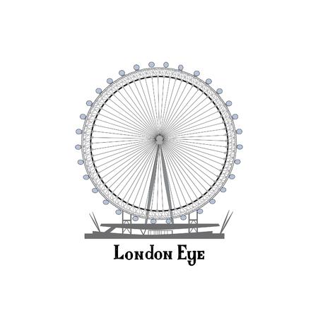 guardsman: Travel London city famous place. English  landmark London Eye sightseeing The Great Britain background design element.