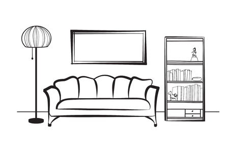 Interior furniture with sofa, floor lamp, book shelf, books and picture on the wall. Living room hnd drawing design.