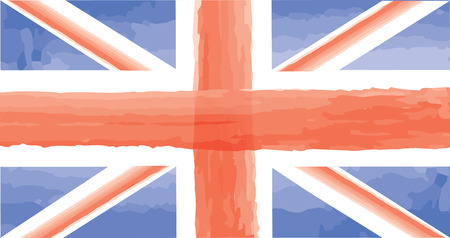 bandera inglesa: English flag. Great Britain with watercolor painted texture flag isolated Vector illustration travel England sign