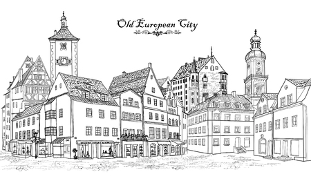 european: Street with old buildings and cafe in old city. Cityscape - houses, buildings and tree on alleyway. Old city view. Medieval european castle landscape. Urban landscape illustration. Pencil drawn vector sketch