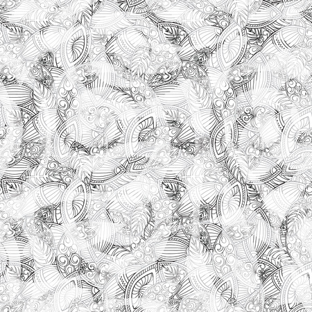 Abstract ornamental floral seamless black and white line pattern. Stylish oriental ornament Outline geometric background