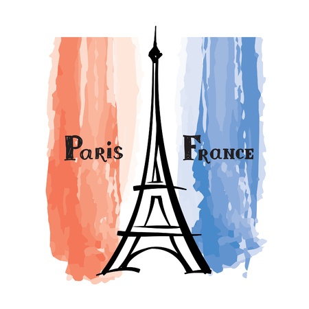 french label: Travel France label Paris famous building Eiffel tower French flag with Paris landmark Grunge painted France flag with handwritten typing background