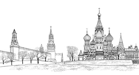 Red square view, Moscow, Russia.  Travel Russia vector illustration. Russian famous place. Kremlin city view from Moscow river. St Basil cathedral, towers and wall citsycape